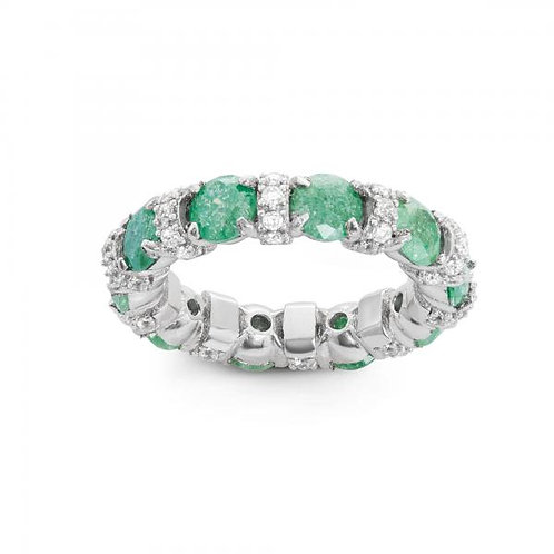 STERLING SILVER CZ & GREEN ICE ETERNITY RING W-1486