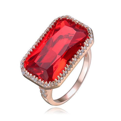 Sterling Silver / Rose Gold Plated Red Radiant Cut Stone Ring CSR-R7041-R-ROSE