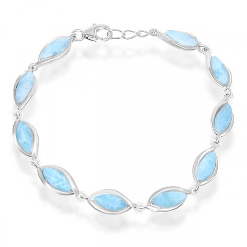 "Sterling Silver 7.5"" Marquise Larimar Bracelet CSB-T-7388"