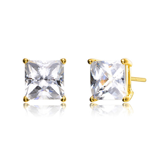 3.00ctw Yellow Toned Princess Cut Stud Earrings TCE-EAR191-9MM-GP