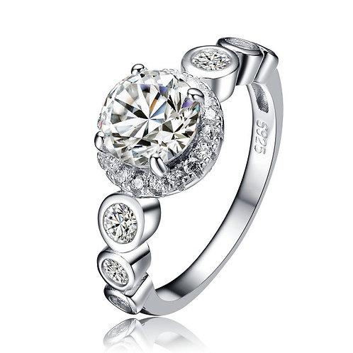 Round Stone Bezel Shank Halo Ring TCR-R3064