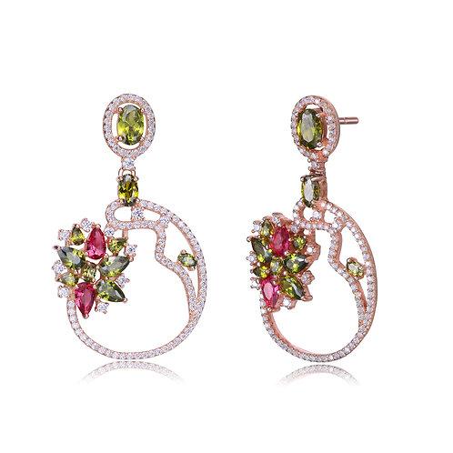 Rose Gold  Flower Multicolored Earrings CSE-EAR9939-MC