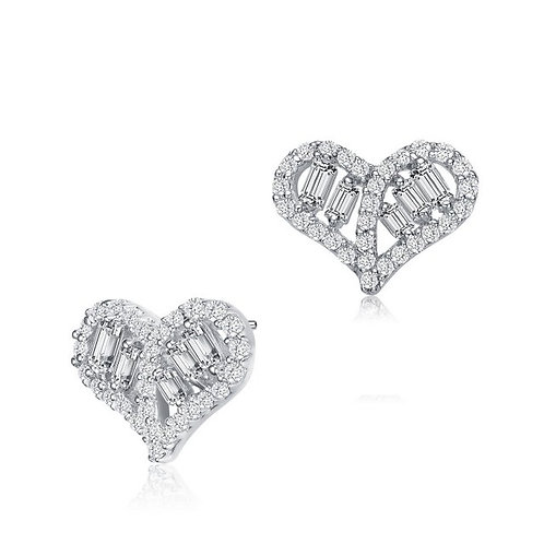 Sterling Silver / Rhodium Plated Heart Stud Earrings TCE-EAR0418