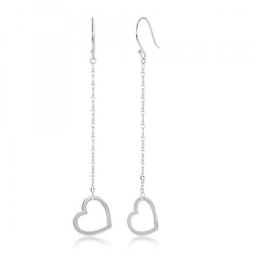 Sterling Silver Fancy Chain with Open Heart Earrings CSE-A-2512