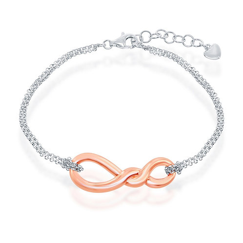 Sterling Silver Rose Gold Pated Infinity Knot Double Strand Bracelet CL-S-5048
