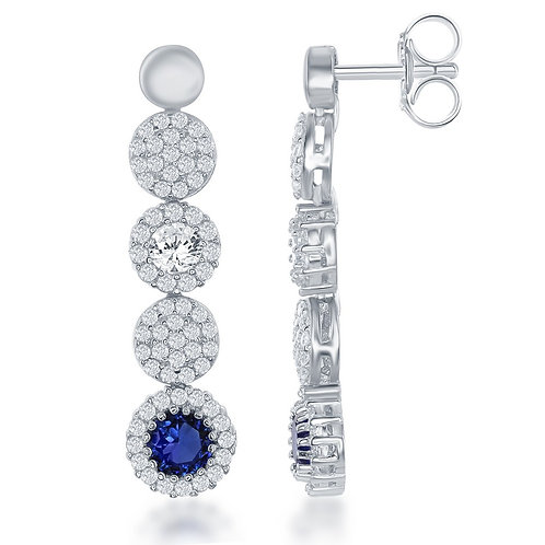 Sterling Silver Pave`Circle Sapphire ColoredDrop Earrings.TCE-D-6327