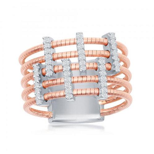 Sterling Silver Designer Ring Set with 14K Rose Gold CSR-W-2018