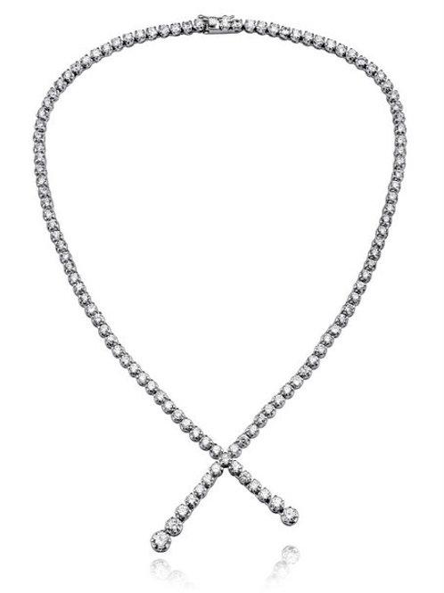 Sterling Silver Cubic Zirconia Twist Necklace NEC516