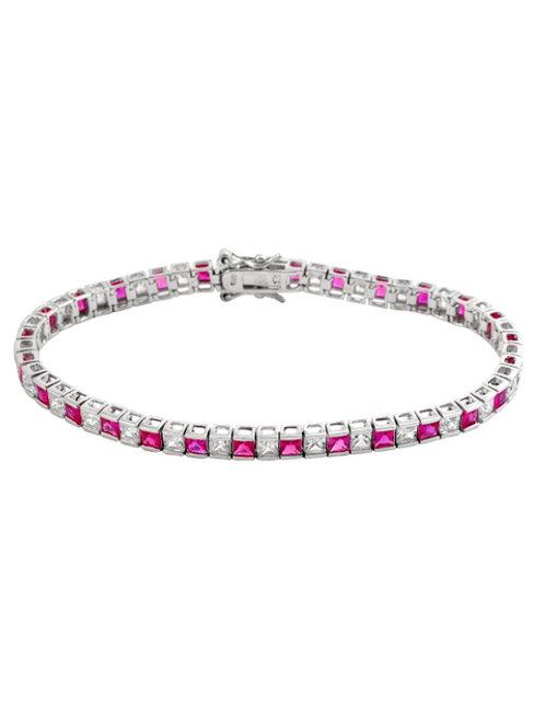 Classic Princess Cut Ruby Stone Tennis Bracelet. TCB-BR1905-R