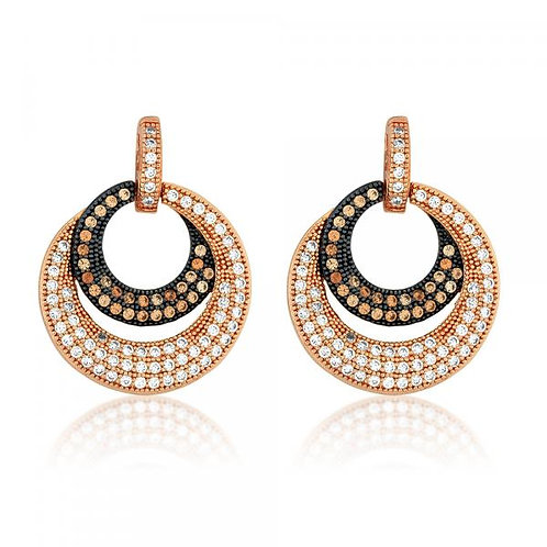 ROSE GP CIRCLE MICRO PAVE EARRINGS