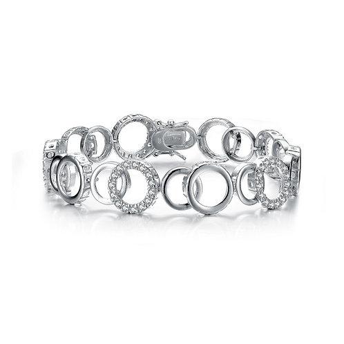 Sterling Silver Circle Interlocking Bracelet CSB-BR1137