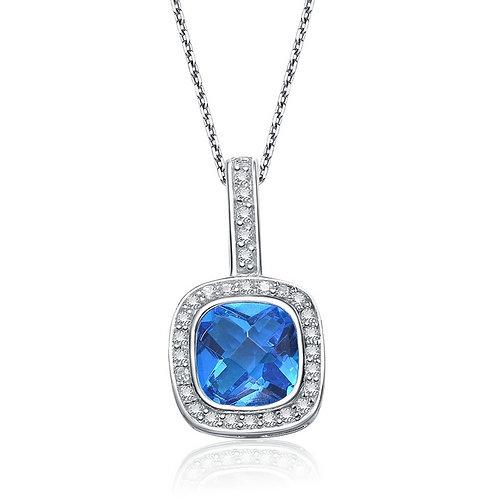 Sterling Silver Blue Topaz Style Necklace TCN-PEN1046-BT