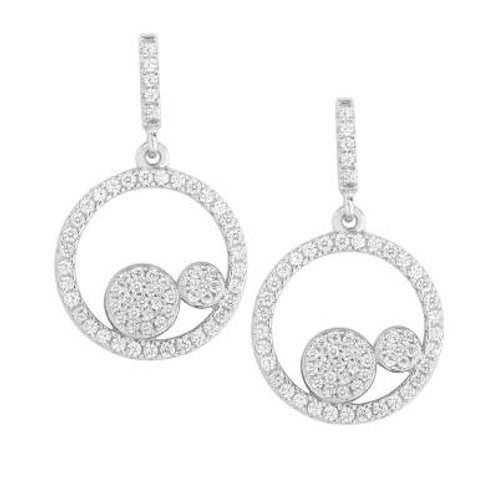 Sterling Silver Open Circle with Two Pave Disc Style Earrings CSE-D-5447