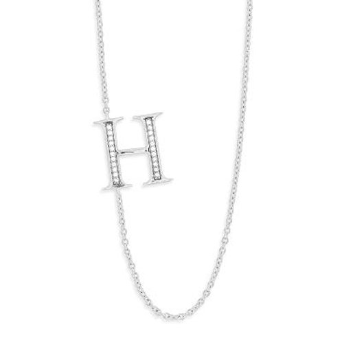 """Sterling Silver Off-Center """"H"""" Necklace CN-M-4528"""