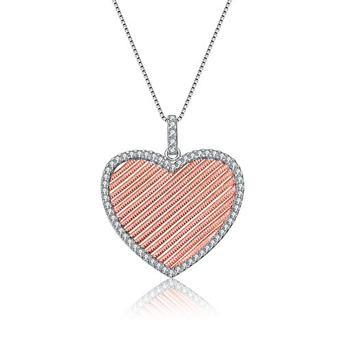 Sterling Silver and Rose Gold Plated Heart Pendant Necklace CSN-PEN5339