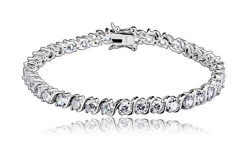 C.Z. Sterling Silver Rhodium Plated 3mm Tennis Bracelet BR1907