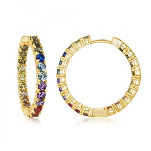 Sterling Silver Gold Toned In-and-Out Rainbow Hoop Earrings CSE-D-7090-GP