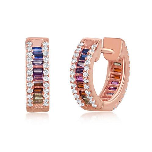 Sterling Silver Rose Gold Plated Baguette Huggie Rainbow Earrings CSE-D-7124
