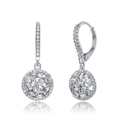 Sterling Silver Rhodium Plated Bag/Rnd Drop Earrings TCE-EAR4153
