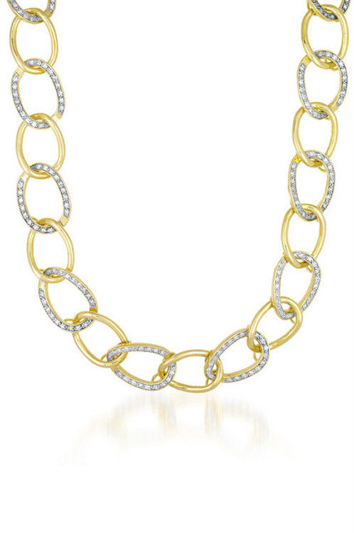 Sterling Silver 18k Gold Vermiel Pave Set Link Necklace TCN-NEC1259-TT