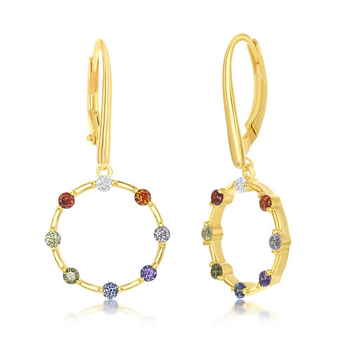 Sterling Silver Gold Plated Rainbow Open Circle Dangle Earrings CL-D-7232