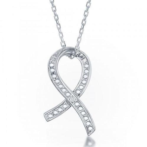 Sterling Silver Diamond Accent Awareness Ribbon Pendant w/ Chain TCN-KDP-128