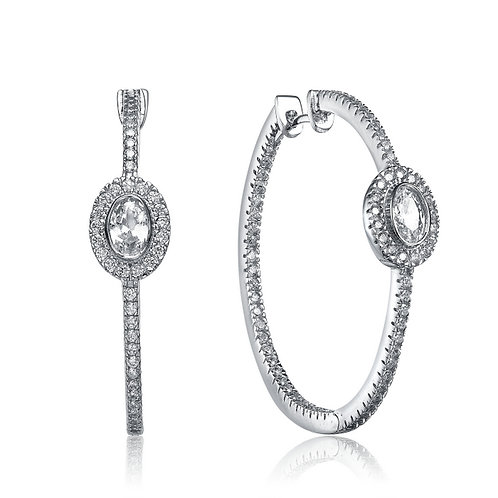 Sterling Silver Solitaire Accent Hoop Earrings EAR5720