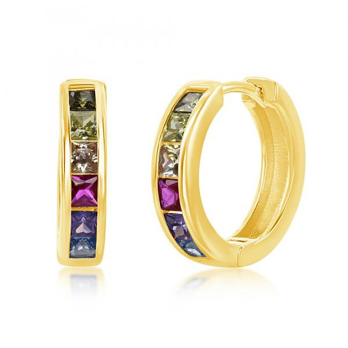 Sterling Silver Gold Plated Channel-Set Rainbow Huggie Earrings CE-D-7126-GP