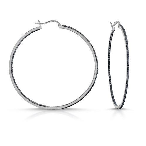 "Black Stone Pave Hoop Earrings 1"" TCS-DEAR9003-BP"