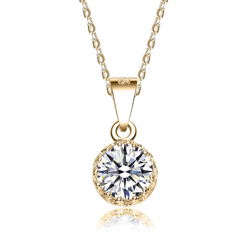 Yellow Gold Toned Round Solitaire Pendant TCN-PEN0005-GP
