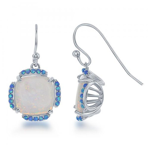 Sterling Silver White Opal with Blue Opal Border Square Earrings CSE-D-6348
