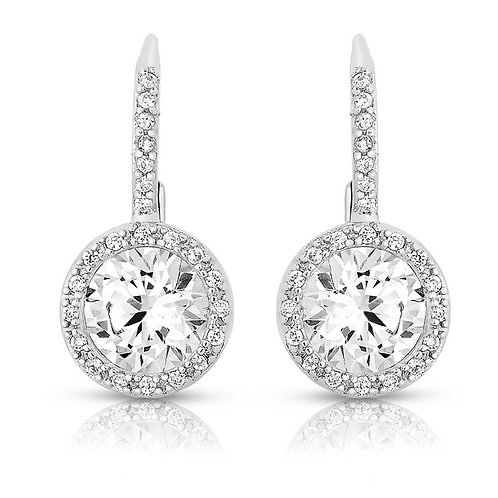 Pave Halo Style lever back Earrings TCE-EAR8106
