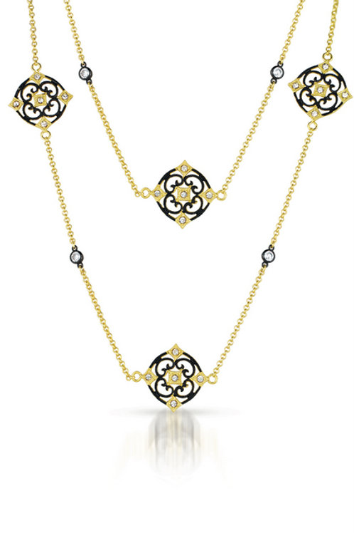 "Yellow/Black Toned Flower Motif 36"" Necklace TCSN-NEC2620-BP"