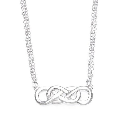 SILVER NECKLACE Double Infinity Pendant L-3613