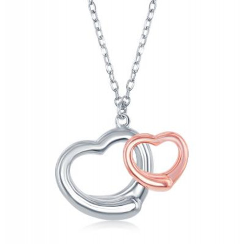 Sterling Silver Two-Tone Double Open Heart Necklace TCSN-L-4008