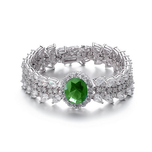 Large Multi Shaped Emerald Color Bracelet TSB-BR1302-E