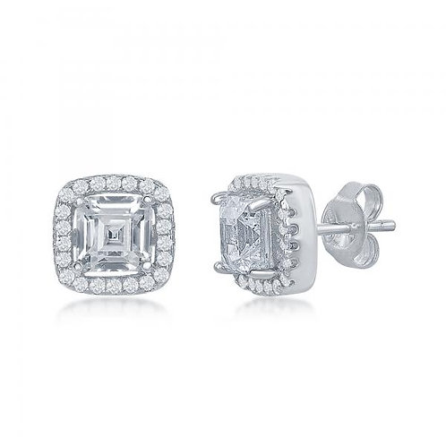 Sterling Silver Double Square Halo Stud Earrings CL-D-7004