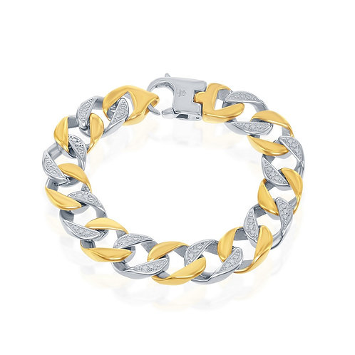 Stainless Steel Two-Tone Gold Plated Pave Curb Link Bracelet CB-ST-1570