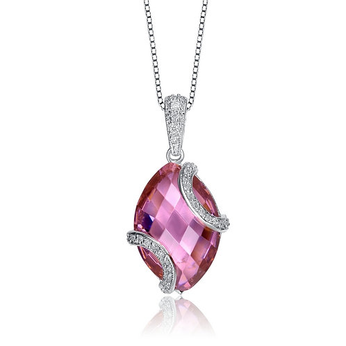 Sterling Silver Oval Shape Pink Marquise Pendant TCSN- PEN1339