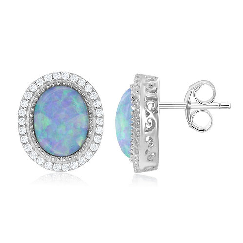 Sterling Silver Round White Opal Earrings CL-D-6558