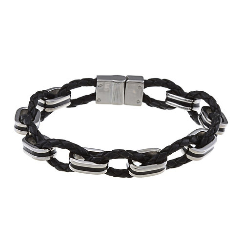Stainless Steel Woven Leather and Oval Links Bracelet CL-ST-1442