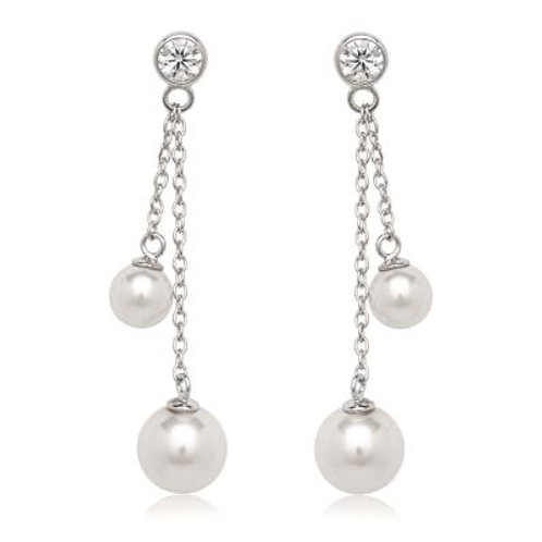 Sterling Silver w/Double White Dangling Shell Pearl Earrings TCE-D-5604