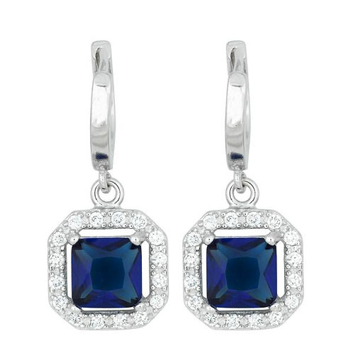 SQUARE DANGLING DARK BLUE CZ MICRO PAVE EARRINGS TCE-D-5246