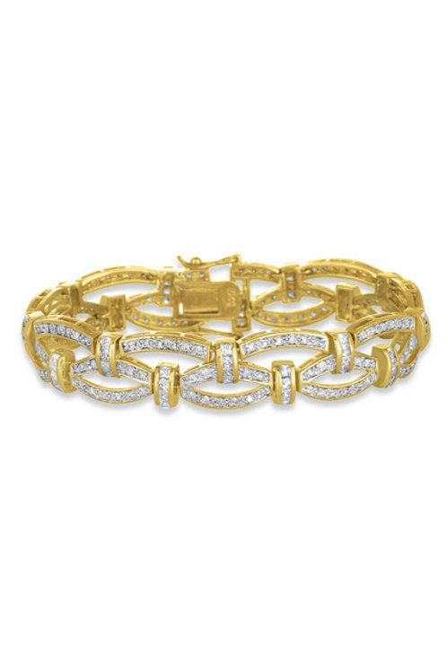 Sterling Silve18k Gold Vermeil Braided Designed Bracelet TB- BR654