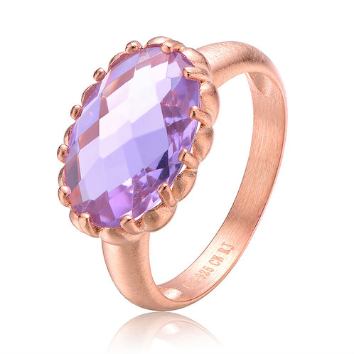 Rose Gold Plated Amethyst Oval Ring TCSR-R4530-A