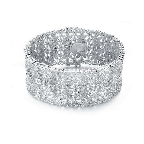 Sterling Silver Cubic Zirocnia Vine Cuff Bracelet BR11-8