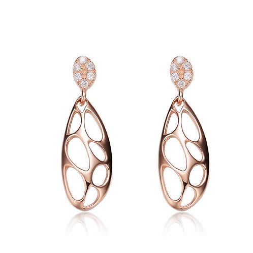 Rose Toned Open Deco Style Earrings CSE-EAR4466-ROSE