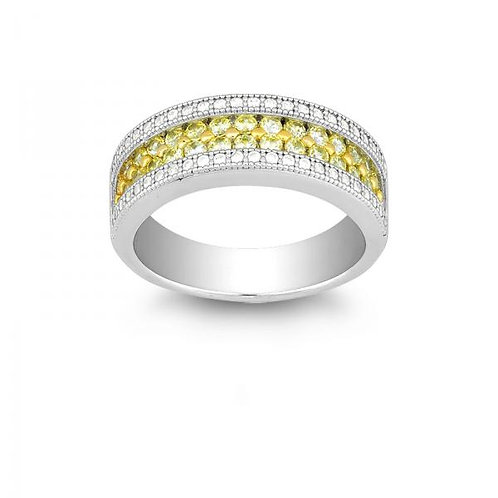 W ZOOM CANARY AND CZ MICRO PAVE RING W-9903