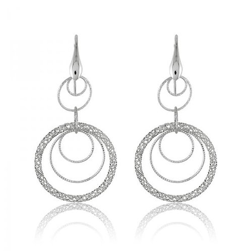 Sterling Silver Platinum Plated Multi Circle Dangling Mesh Earrings CSE-A-2011