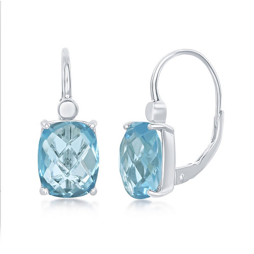 Sterling Silver Four-Prong Checkered 1.34ctw Blue Topaz Earrings TCE-D-7150